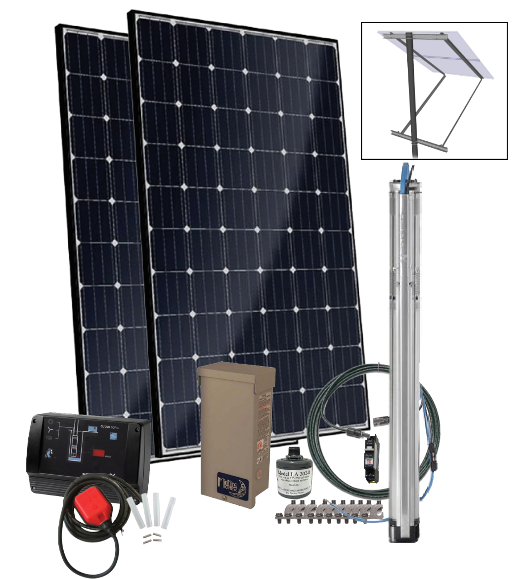 Grundfos SQFlex Pre-designed Solar Water Pumping Kit using 11 sqf-2 pump 10  to 8 gpm, 50 to 125 feet lift