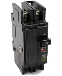 CIRCUIT BREAKER, QOU, 60A, 120/240VAC / 48VDC MAX, 2-POLE, SQUARE D, SURFACE OR DIN MNT, 1.5IN, QOU260