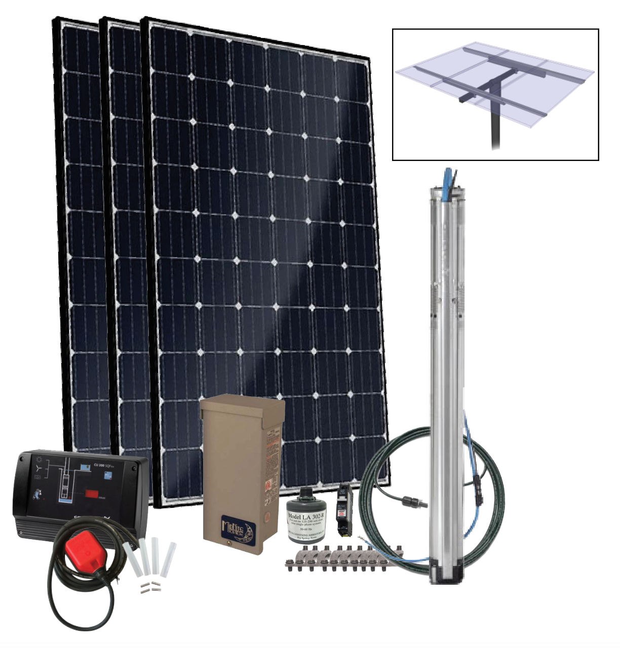 Grundfos SQFlex Pre-designed Solar Water Pumping Kit using 25 sqf-7 pump 28 to 6