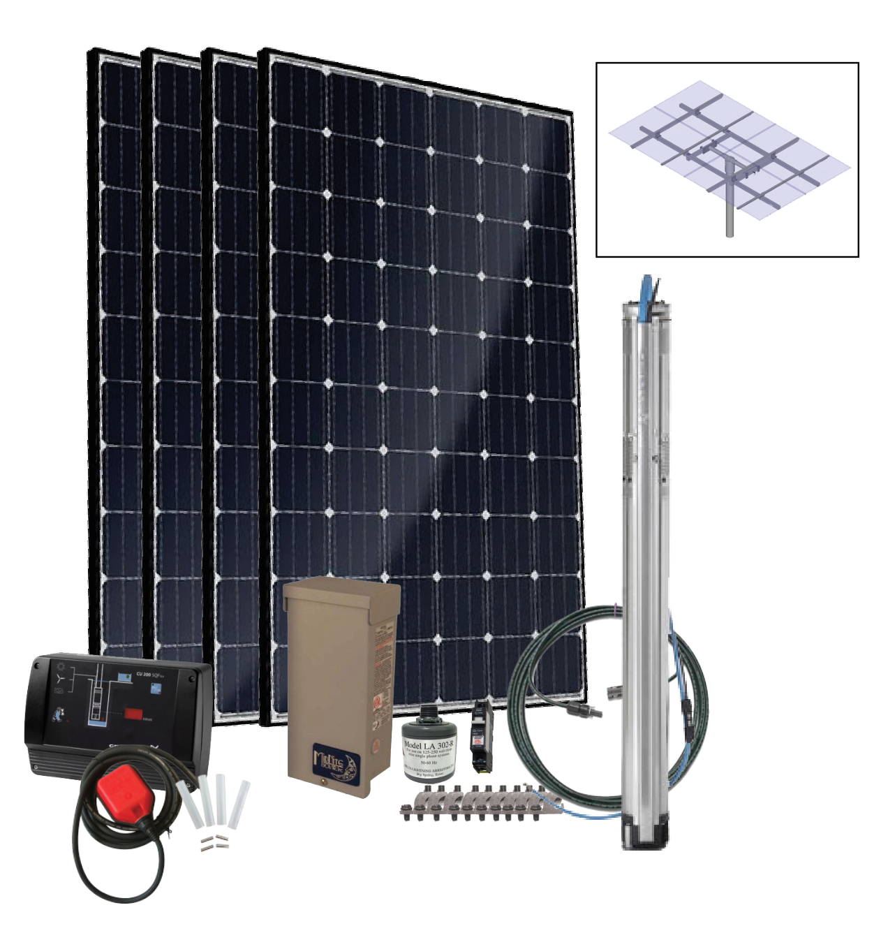 Grundfos SQFlex Pre-designed Solar Water Pumping Kit using 11 sqf-2 pump 12 to 4.5 gpm, 15 to 395 feet lift