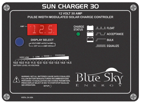 Blue Sky Energy, Sun Charger 30, PWM 30 Amp, 12 Volt Charge Controller