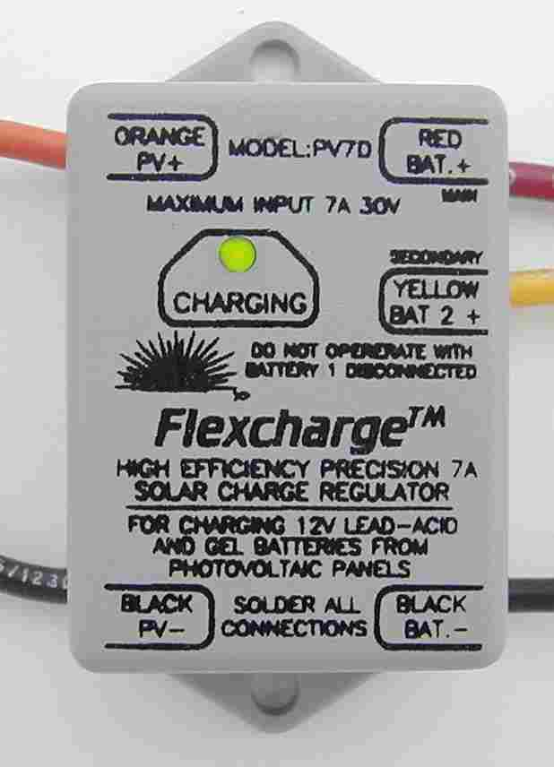 Flexcharge PV7D 7A 12V Marine/RV charge controller for dual battery banks