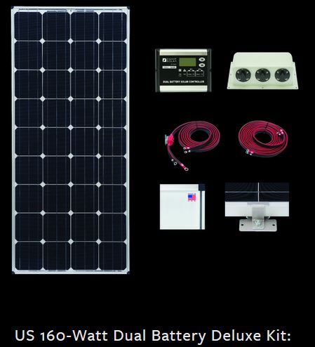 Zamp Solar 160W Dual Battery Bank RV kit ZS-US-160-30AD-DX 160 Watt Kit/30 Amp C