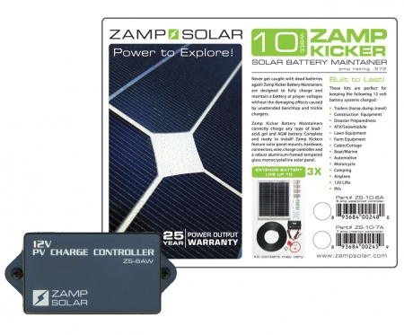 Zamp Solar 10w Battery Maintainer (Kicker) w/ 6A 3 stage Charge Controller