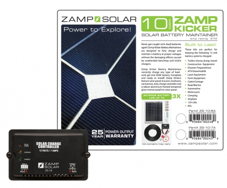 Zamp Solar 10w Battery Maintainer ( Kicker) w/ 7A Charge Controller