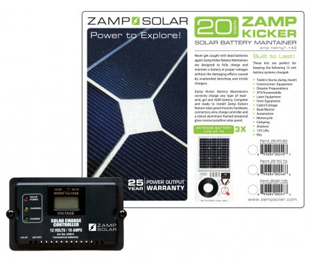 Zamp Solar 20w Battery Maintainer ( Kicker) w/ 10A 2 Stage Digital Charge Controller
