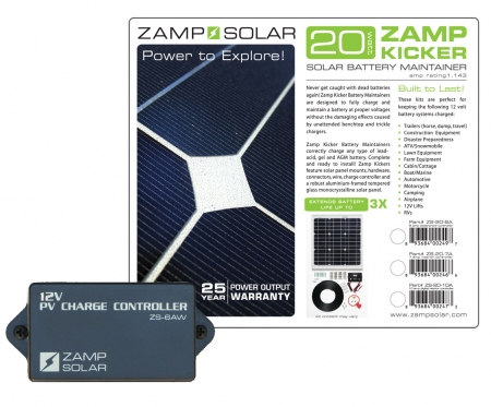 Zamp Solar 20w Battery Maintainer ( Kicker) w/ 6A 3 Stage Waterproof Charge Controller