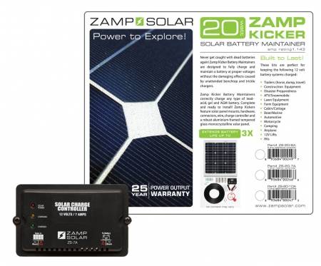 Zamp Solar 20w Battery Maintainer ( Kicker) w/ 7A Charge Controller