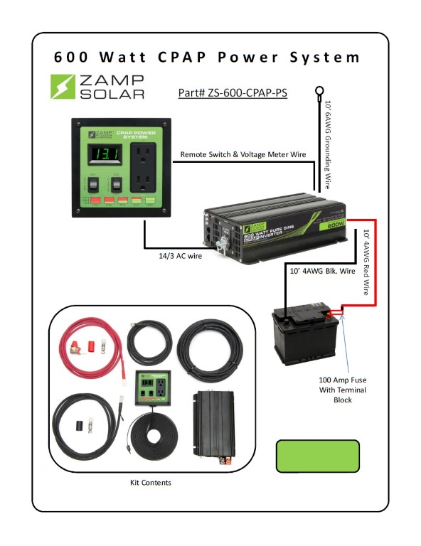 Zamp Solar 600W 12VDC Pure Sine Wave Inverter and CPAP power system